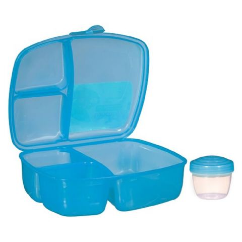 Packed Lunch Salad & Ready Meal Box with Compartments & Pot (Blue)